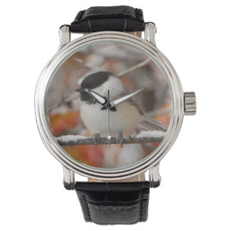 Adult Black-capped Chickadee in Snow, Grand Wrist Watches