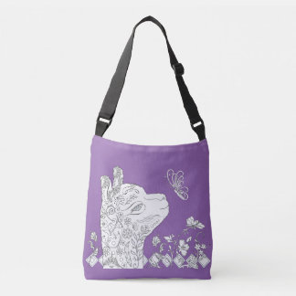 Adult Coloring Alpaca Butterfly DIY Cross Body Bag