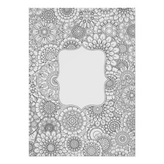 "Adult Coloring Flowers DIY Poster (Large 20x28"")"