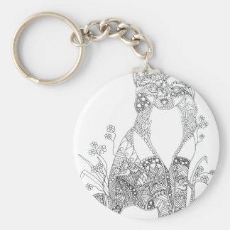 Adult Coloring Fox Animal Art Basic Round Button Key Ring