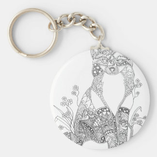Adult Coloring Fox Animal Art Key Ring