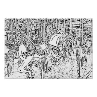 Adult Coloring: Horse on a Carousel Poster