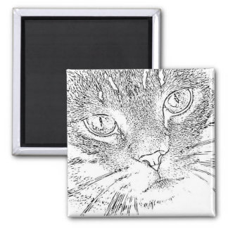 Adult Coloring Magnet: Cat Face Square Magnet