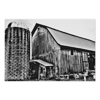 Adult Coloring: Old Antique Barn and Silo Poster
