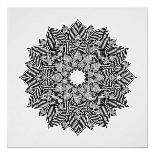 Adult Colouring Floral Mandala Poster