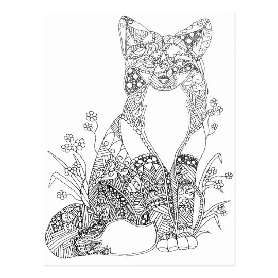 Adult Colouring Fox Animal Art Postcard