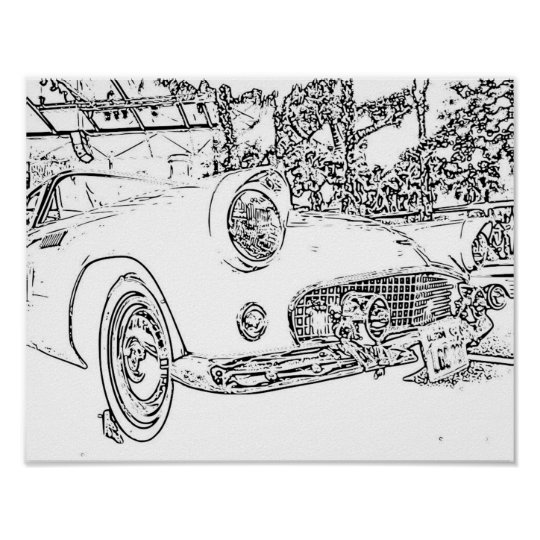 """Adult Colouring"""" Retro Car Poster"""