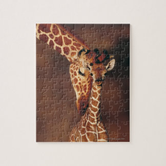 Adult Giraffe with calf (Giraffa camelopardalis) Jigsaw Puzzle