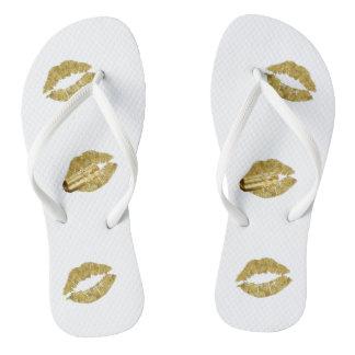 Adult, Gold bullets&lips Slim Straps Flip Flops