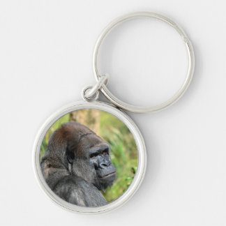 Adult Gorilla Silver-Colored Round Key Ring