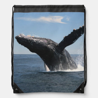 Adult Humpback Whale Breaching Drawstring Bag