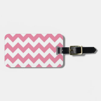 Adult, Pink Chevron, Luggage Tag w/ leather strap