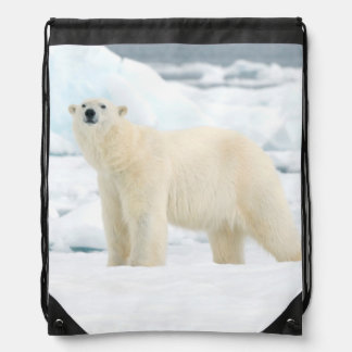 Adult polar bear in search of food drawstring bag