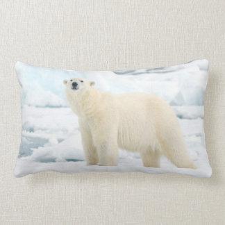Adult polar bear in search of food lumbar pillow