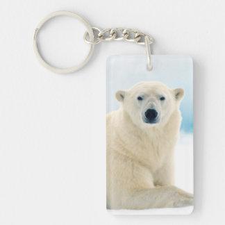Adult polar bear large boar on the summer ice Double-Sided rectangular acrylic key ring