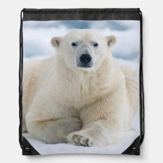 Adult polar bear on the summer pack ice drawstring bag