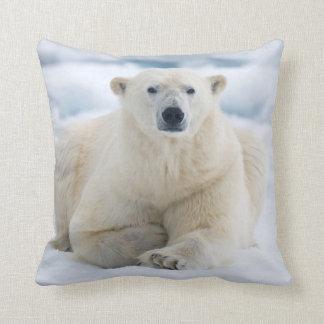 Adult polar bear on the summer pack ice throw pillow