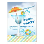 "Adult Pool Party Summer Cocktail Invitation 5.5"" X 7.5"" Invitation Card"