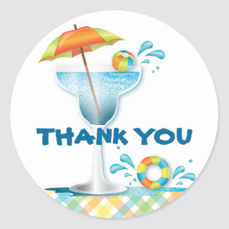 Adult Pool Party Summer Thank You Sticker