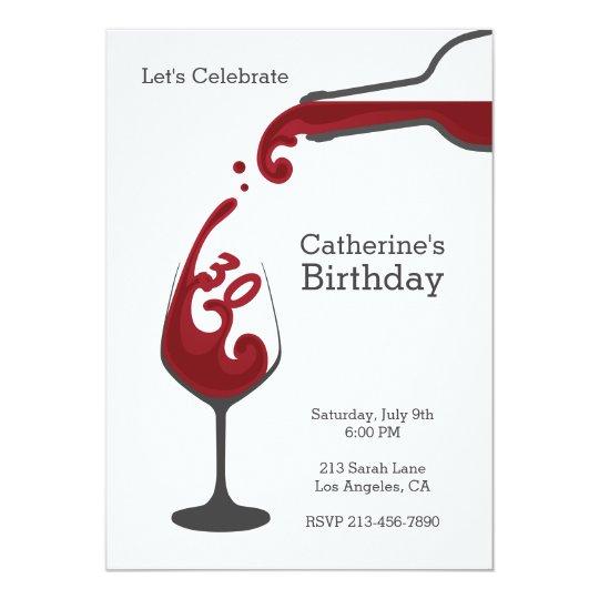 Adult Red Wine Modern Birthday Party Invitation