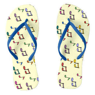Adult slipper, Fine Straps - Design Musical Notes Flip Flops
