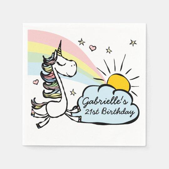 Adult Unicorn Birthday Paper Napkin