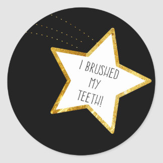 Adulting Gold Star Sticker--Brushed Teeth Classic Round Sticker