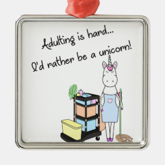 Adulting is hard... I'd rather be a unicorn! Christmas Ornament