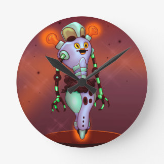 ADUZ ALIEN CUTE ROBOT  Round (Medium) Wall Clock
