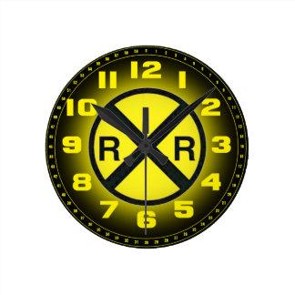 Advance Warning Sign Railroad Crossings Round Wallclocks