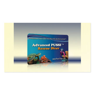 """""""Advanced PUSSI Rescue Diver"""" Certification Card Business Card Template"""