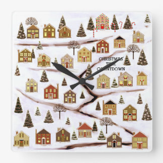 Advent Calendar Square Wall Clock