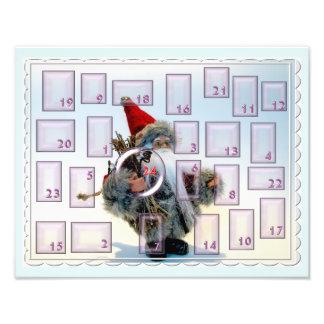 Advent calendar with bearded nikolaus photographic print