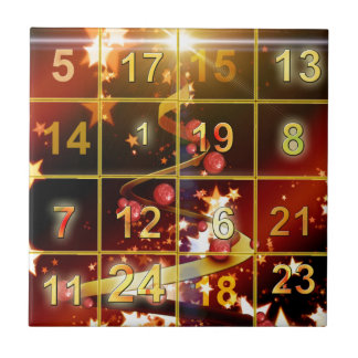 Advent Calender Door Golden Christmas Tiles