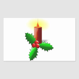 Advent Candle with Holly Rectangular Sticker