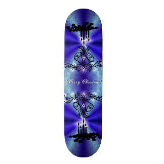 Advent, Christmas Artdeco on blue green Rainbow Custom Skateboard