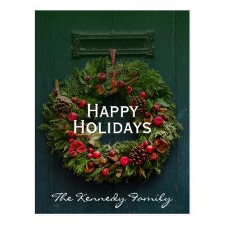 Advent Christmas wreath on wooden door Postcard