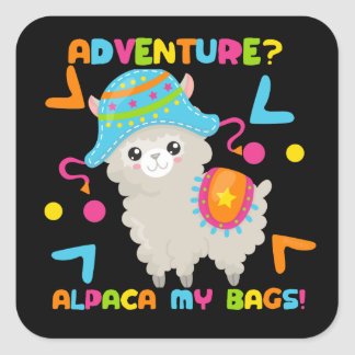 Adventure Alpaca My Bags Cute Funny Square Sticker