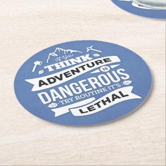 Adventure Attitude Success Motivational Quote Blue Round Paper Coaster