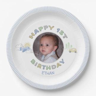 Adventure Awaits 1st Birthday Photo Personalised Paper Plate