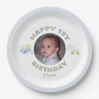 Adventure Awaits 1st Birthday Photo Personalized Paper Plate