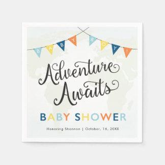 Adventure Awaits: Baby Boy Cocktail Napkins Disposable Serviettes