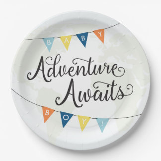 Adventure Awaits Baby Boy Shower Plates