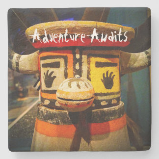 """Adventure awaits"" cute face photo stone coaster"