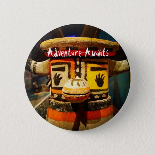 """Adventure awaits"" fun cute odd face photo button"