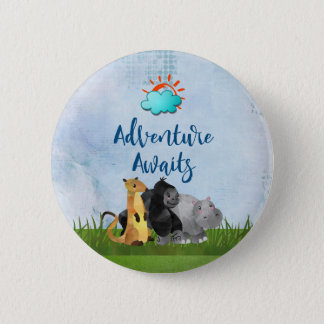 Adventure Awaits - Gorilla Hippo and Meerkat 6 Cm Round Badge