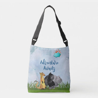 Adventure Awaits - Gorilla Hippo and Meerkat Crossbody Bag