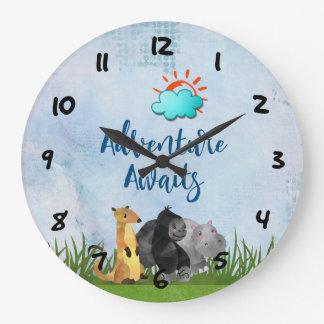 Adventure Awaits - Gorilla Hippo and Meerkat Large Clock