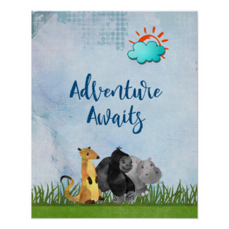 Adventure Awaits - Gorilla Hippo and Meerkat Poster