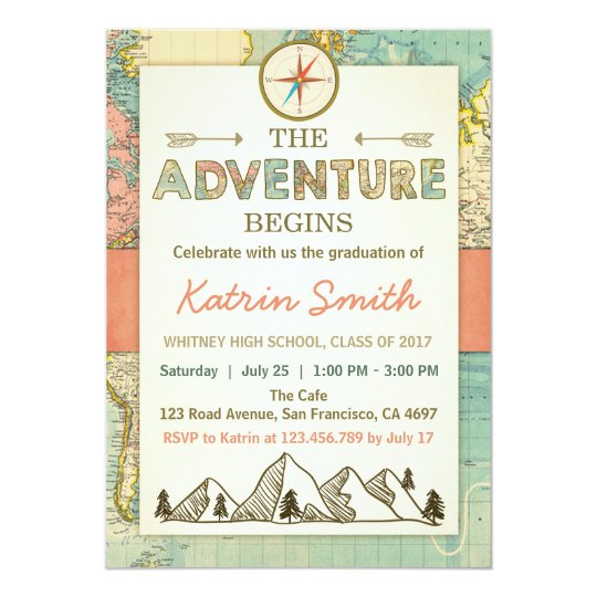 Adventure awaits Graduation invitation Travel Map